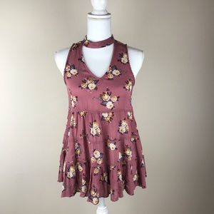 American Eagle Outfitters Floral Rose Tunic Top XS